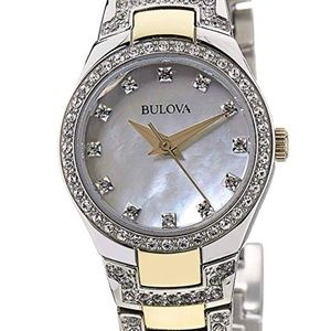 Bulova women's 2 tone watch with crystals